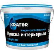 Краска интерьерная супербелая водно-дисперсионная акриловая KRAFOR