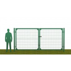 Ворота распашные В1730*Ш3500 без фланца зеленые (RAL 6005)
