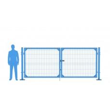 Ворота распашные В1530*Ш4000 с фланцем синие (RAL 5010)
