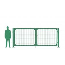 Ворота распашные В1530*Ш4000 с фланцем зеленые (RAL 6005)