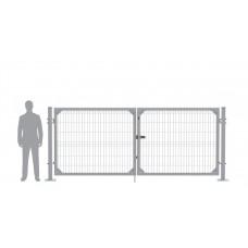Ворота распашные В1530*Ш4000 с фланцем серые (RAL 7040)